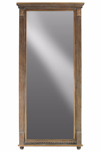 Wood Rectangular Wall Mirror with Tabernacle Design Frame - Brown -Benzara