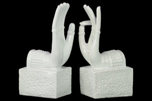 Resin Buddha Hand Bookend Assortment of Two Coated - White - Benzara