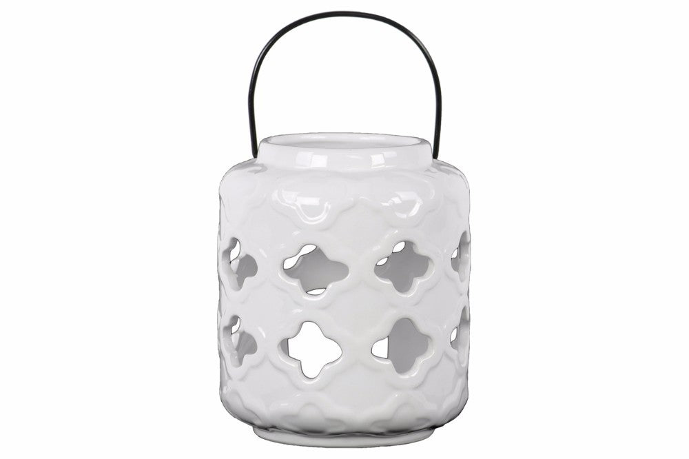 Quatrefoil Cutout Design Lantern with Metal Handle - White - Benzara
