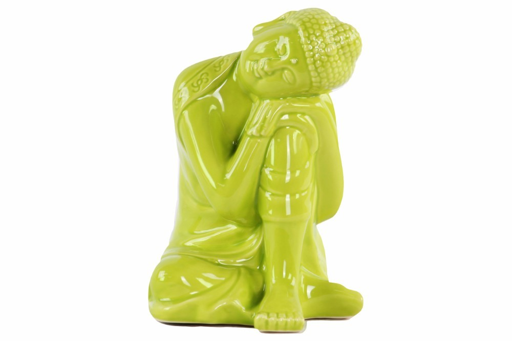 Sitting Buddha Figurine With Head Resting on Knee Green - Benzara
