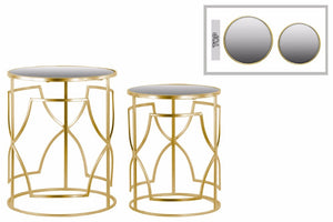 Nesting Accent Table with Mirror Top and Round Base Set of Two Gold - Benzara