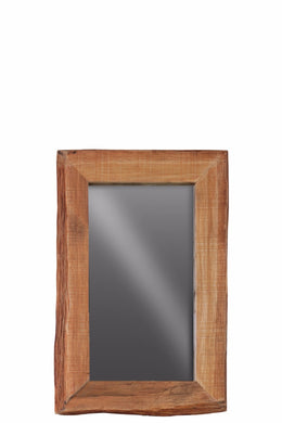 Wood Rectangular Wall Live Edge Mirror Small - Brown - Benzara