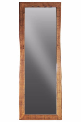 Wood Rectangular Wall Leaner Live Edge Mirror - Brown - Benzara