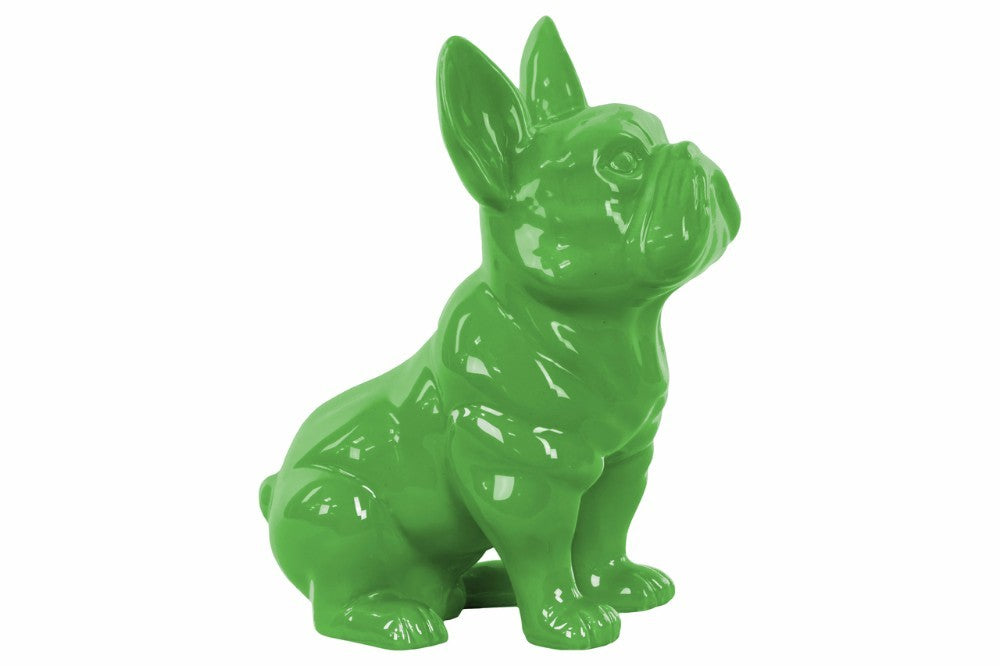 Sitting French Bulldog Figurine with Pricked Ears - Green - Benzara