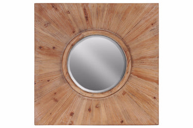 Wood Round Wall Mirror with Square Frame - Brown - Benzara