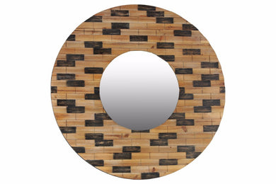 Wood Round Wall Mirror with Brick Design Frame - Brown - Benzara