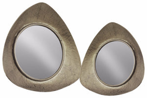 Metal Wall Mirror with Triangle Frame Set of 2 - Silver - Benzara