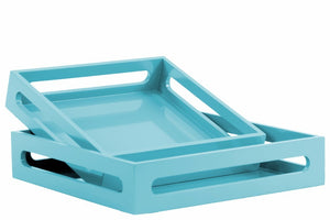 Wood Square Serving Tray with Cutout Handles Set of 2 - Blue - Benzara