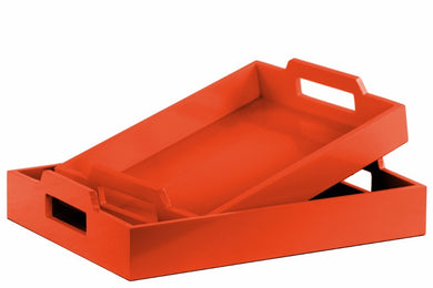 Wood Rectangular Serving Tray with Cutout Handles Set of 2 - Orange - Benzara