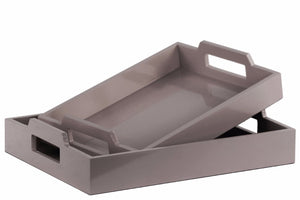 Wood Rectangular Serving Tray with Cutout Handles Set of 2 - Gray - Benzara