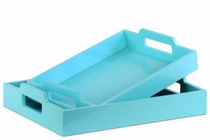 Wood Rectangular Serving Tray with Cutout Handles Set of 2 - Blue - Benzara
