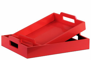 Wood Rectangular Serving Tray with Cutout Handles Set of 2 - Red - Benzara