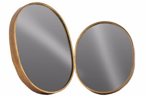 Metal Oval Wall Mirror Set of Two Tarnished- Copper- Benzara