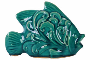 Fish Figurine with Mouth Open - Embossed Swirl  Design - Blue - Benzara