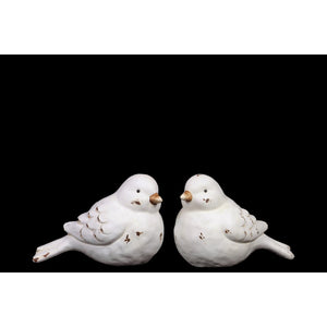 Winsome Figurine of Ceramic Bird Set of Two, Distressed- White- Benzara