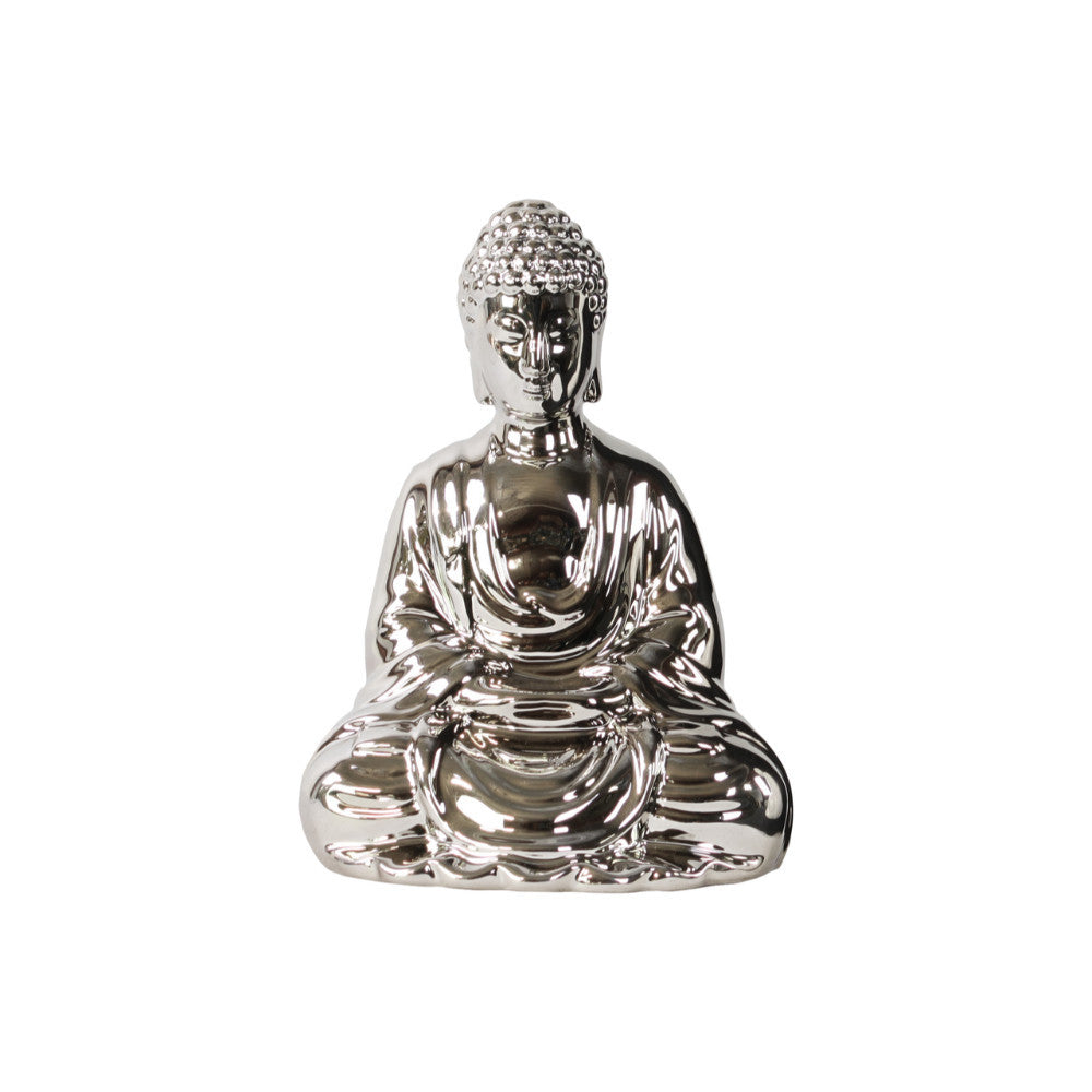 Buddha with Rounded Ushnisha in Mida No Jouin Mudra- Silver- Benzara