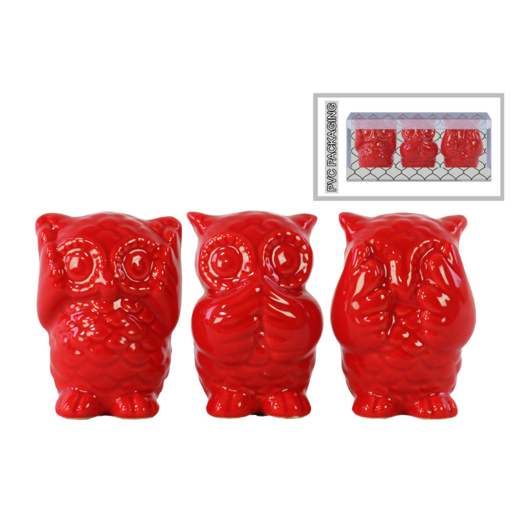 Ceramic Owl Figurine in PVC Packaging- Red- Benzara