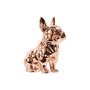 Ceramic Sitting French Bulldog Figurine- Copper- Benzara