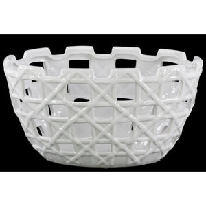 Round Pot with Square Cutout Design Large - White - Benzara