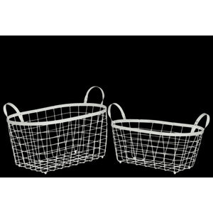 Rectangular Wire Basket with Handles and Mesh Body Set of Two White - Benzara