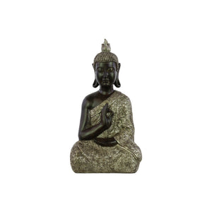 Buddha Figurine with Pointed Ushnisha in Karana Mudra - Black - Benzara