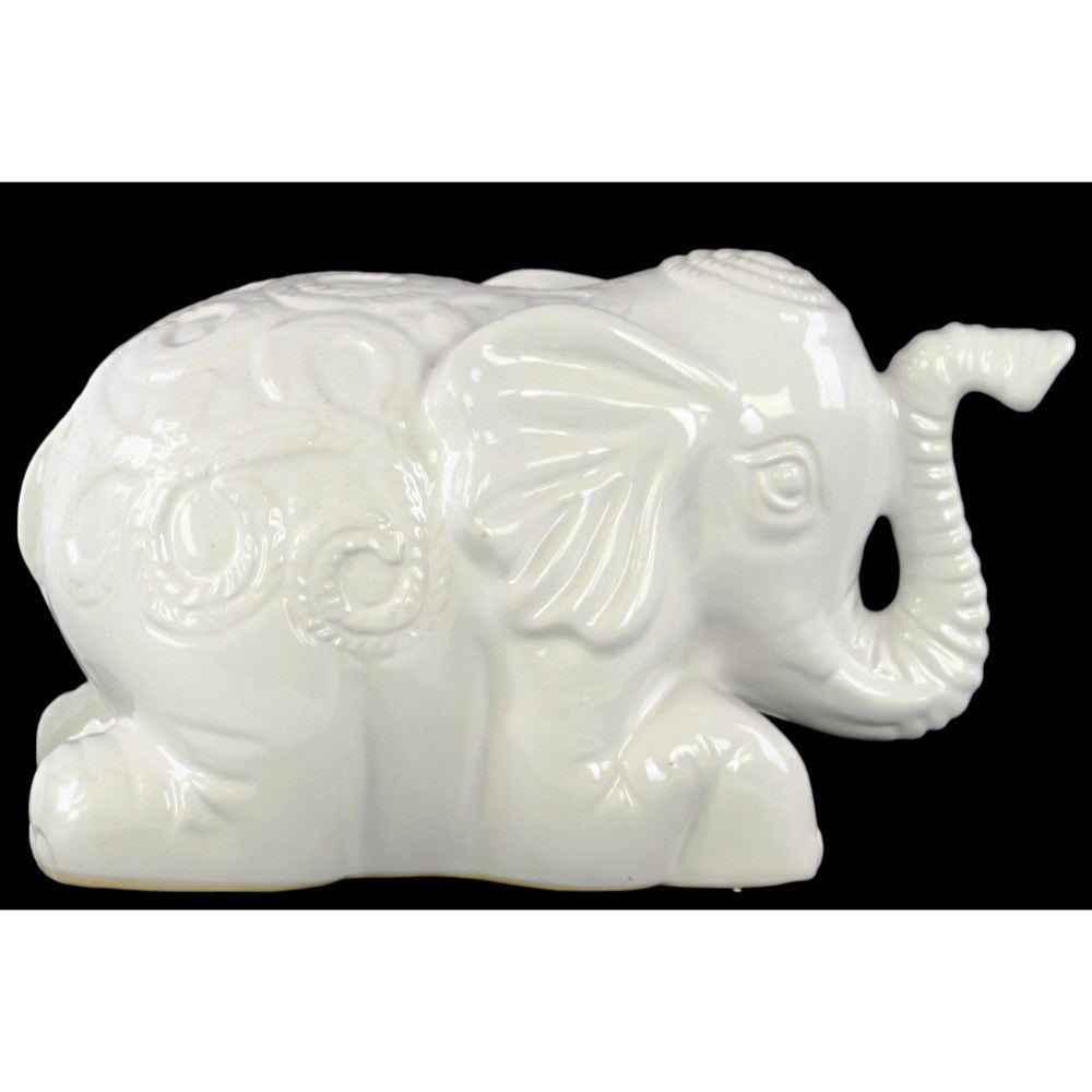 Laying Elephant Figurine with Embossed Swirl Design White - Benzara