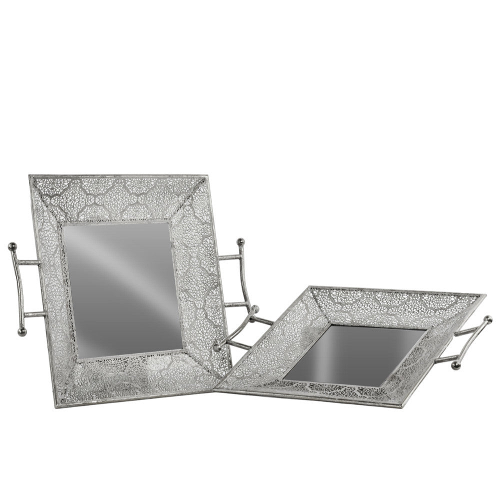 Metal Square tray-Set of 2-Silver - Benzara