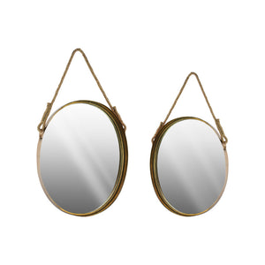 Oval Wall Mirror with Beveled Surface and Rope Hanger Set of 2 Gold - Benzara