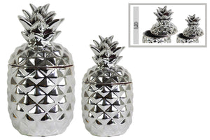Enchanting Ceramic Pineapple Canister Set of Two- Silver- Benzara