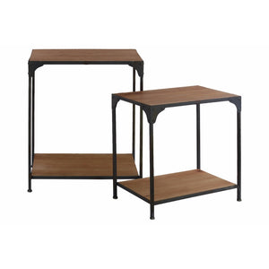 Nesting Accent Table with Shelf Set of Two - Black &Brown - Benzara