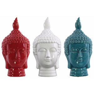 Buddha Head Assortment of Three Gloss Finish Assorted Color - Benzara