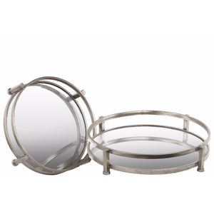 Round Tray with Beveled Mirror Surface Set of Two - Silver - Benzara