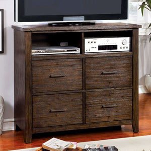 Riberia Transitional Style Media Chest, Dark Walnut Finish