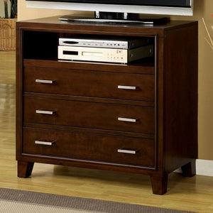 Enrico I Contemporary Style Media Chest,  Brown Cherry