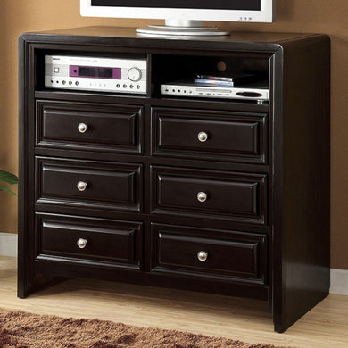 Yorkville Transitional Style Media Chest, Espresso Finish