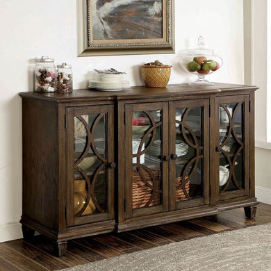 Haylee Transitional Style Server, Wire-Brushed Brown Finish