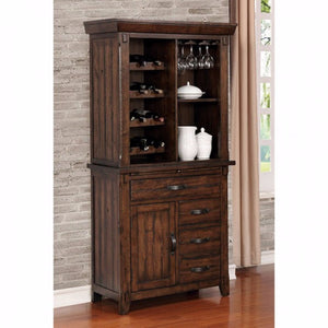 Meagan I Transitional Style Wine Cabinet Brown Cherry