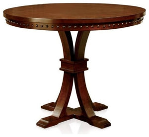 Gladstone II Marble Top Counter Height Table, Dark Walnut Finish