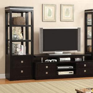 "Tolland 66"" Tv Console Contemporary Style, Black Finish"