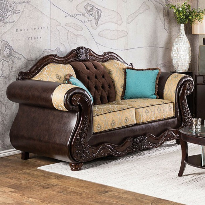 Wexford Grotesque Love Seat Traditional Style, Beige & Brown