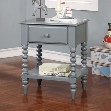 Lindsey Modish Shrewd Night Stand, Transitional Style, Gray