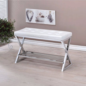 Mila Contemporary Style Comfy Leatherette Bench, White