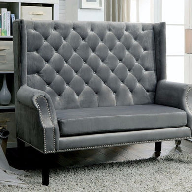 Shayla Contemporary Loveseat Bench, Wingback Design, Gray