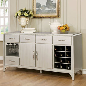 Diocles Contemporary Style Server With Tapered Legs, Silver