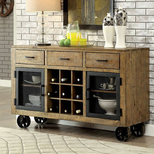 Gianna Industrial Style Server, Rustic Pine Finish