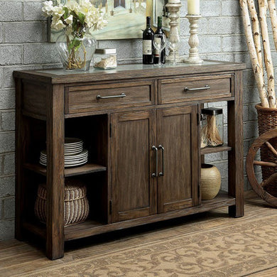 Colette Industrial Style Server, Rustic Oak Finish
