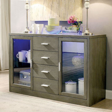 Luminar I Modern Style Server With Led Lights, Gray