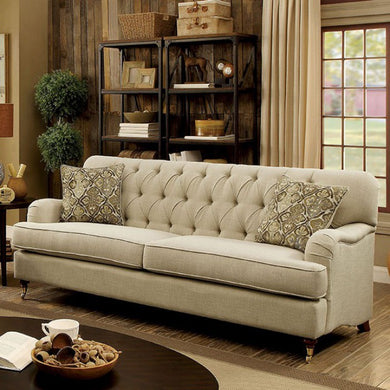 Laney Transitional Style Tufted Comfy Sofa, Beige