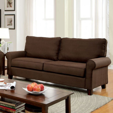 Hensel Transitional Style Flax Fabric Sofa, Brown