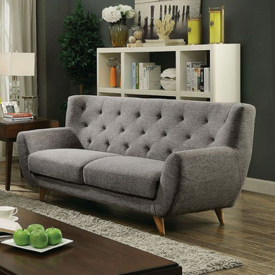 Carin Mid Century Modern Style Sofa With Flared Arms, Light Gray